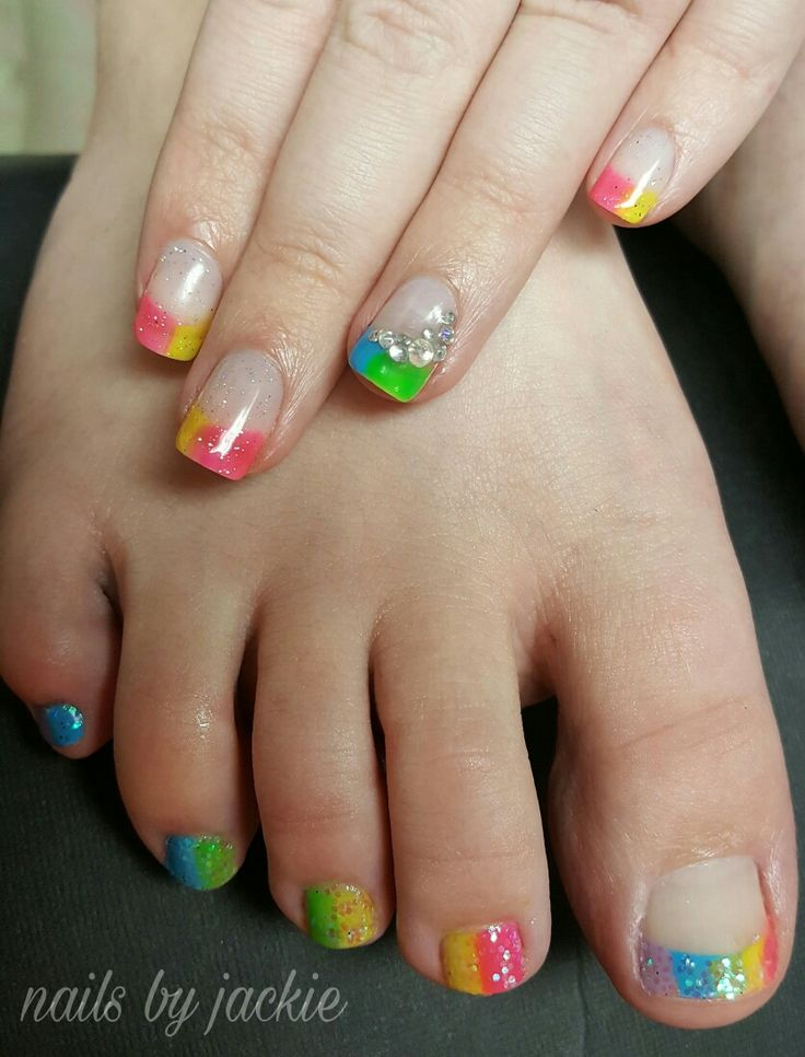 Gel polish manicure pedicure Bright neon french nail art Nails by jackie