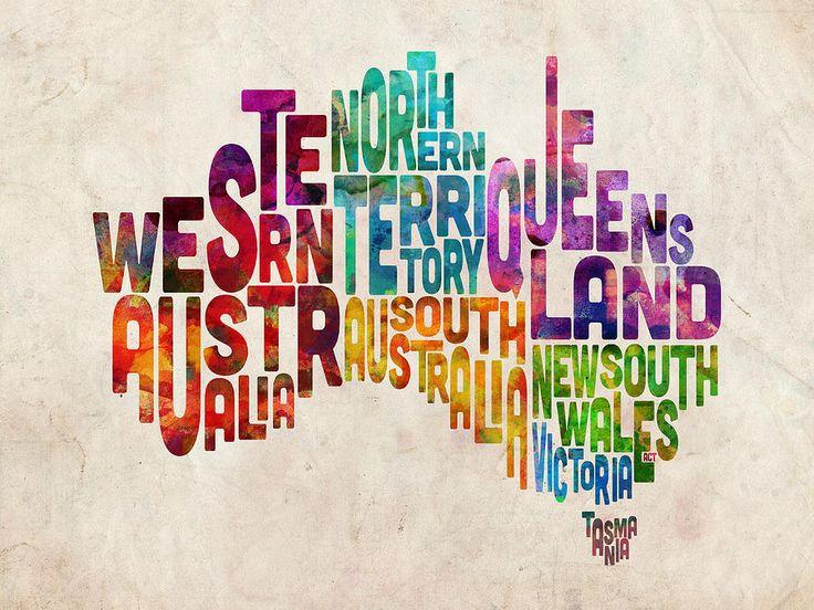 Australia Typographic Text Map Digital Art by Michael Tompset
