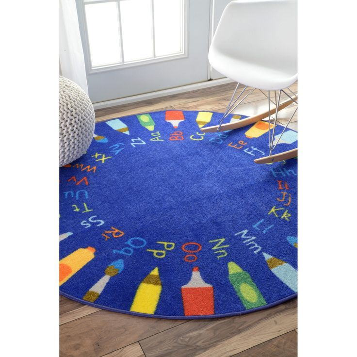 nuLOOM Contemporary Alphabet Blue Kids Rug (5' Round) (Blue), Size 5' x 5' (Nylon, Abstract)