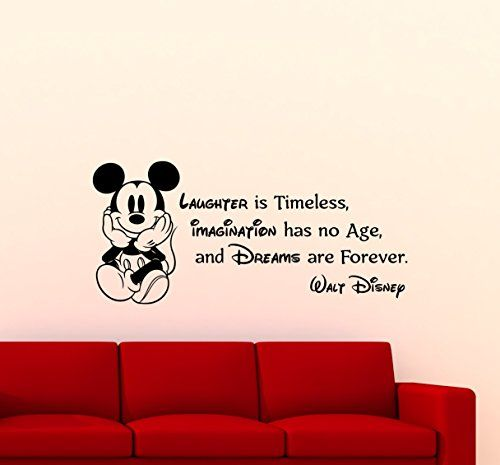 Mickey Mouse Wall Decal Walt Disney Quote Nursery Custom Cartoon Disney Vinyl Sticker Home Nursery Room Interior Art Decor Kids Girl Boy Room Mural Waterproof Vinyl Sticker 84ct ** Details can be found by clicking on the image.