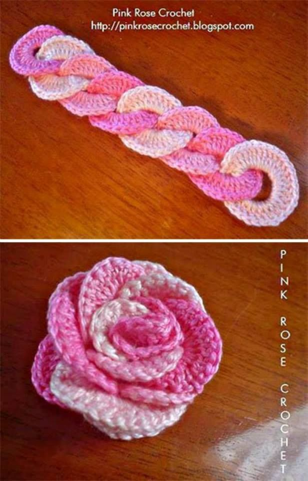 Joined circles to form a roll up Crochet Rose ❥ 4U // hf