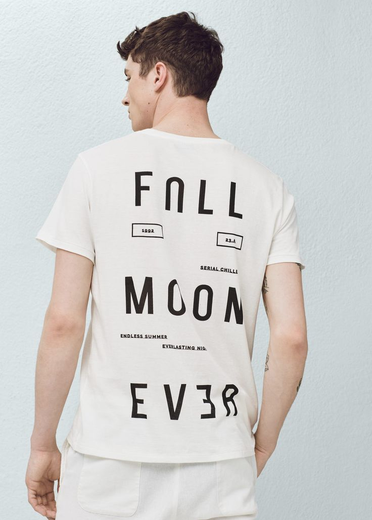 Printed cotton-blend t-shirt | MANGO MAN