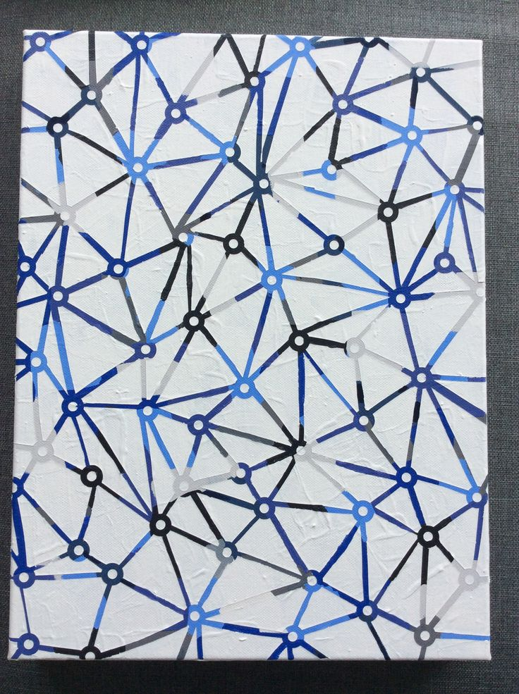 Satellite Cities are Blue geometric abstract painting (Daniela Kiss 41X31cm Acrylic on canvas)