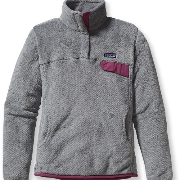 Patagonia Re-Tool Fleece Pullover Great condition. So soft and so warm. Grey and pink / maroon lining. *no trades* Patagonia Jackets & Coats