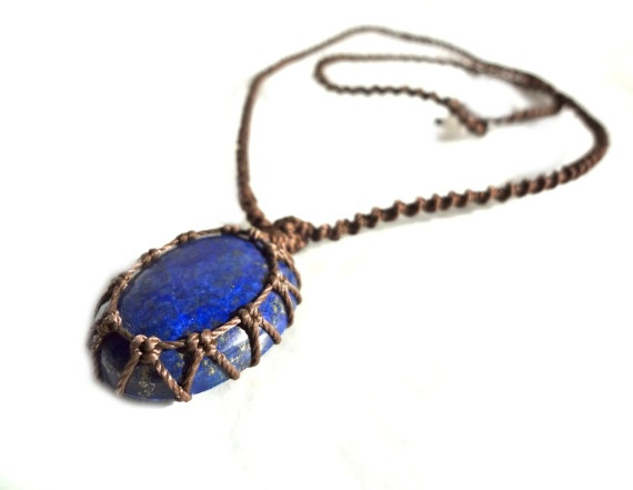 organic LAPIS LAZULI macrame Necklace Your Stone by EarthCultured, $44.00Macrame Necklace
