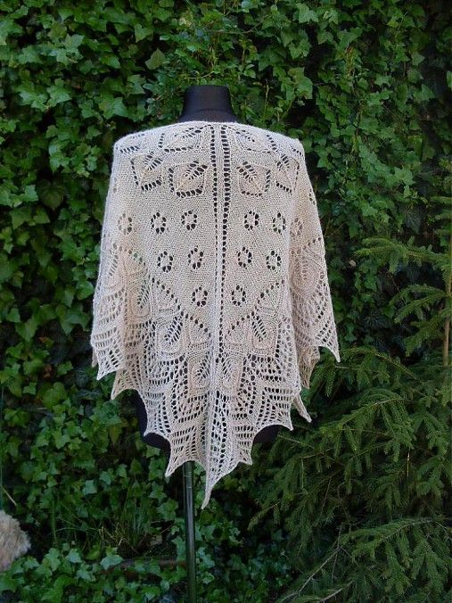 Pletený šátek krajkový-listový vzor,100% alpaka