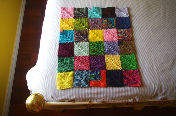 Picture - instructions for a modular knit mitered square afghan.