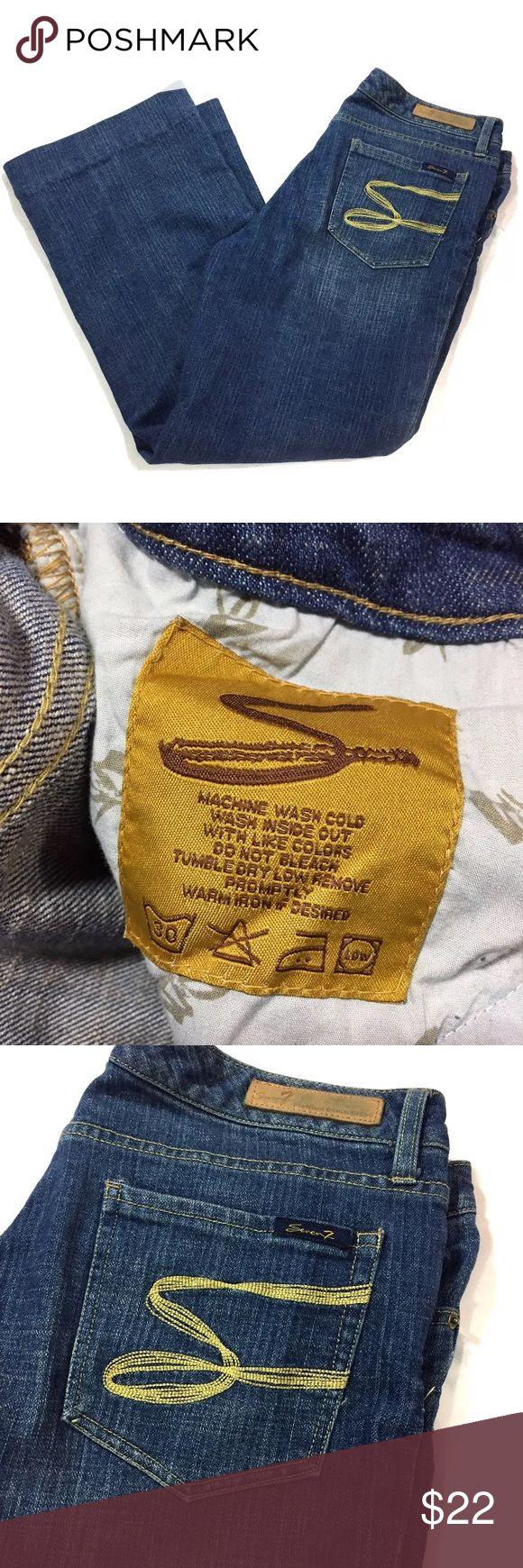 "Seven Jeans Flare Leg Jeans Size 14 Inseam 28"" Seven flare leg jeans size 14.  These have been hemmed to an inseam of 28"" as shown. Rise 10""  waist measured flat across 17"". Seven7 Jeans Flare & Wide Leg"