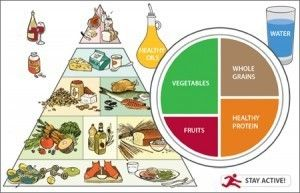 The Healthy Eating Plate does not define a certain number of calories or servings per day from each food group. The relative section sizes s...
