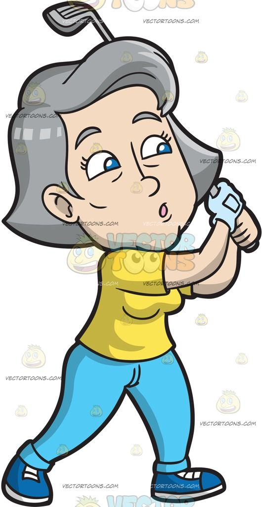 A Mature Woman Takes A Look At Her Flying Golf Ball :  A mature woman with gray hair wearing a yellow shirt sky blue pants blue shorts right hand in powder blue glove whistles as she swings her gray golf club after hitting a golf ball  The post A Mature Woman Takes A Look At Her Flying Golf Ball appeared first on VectorToons.com.
