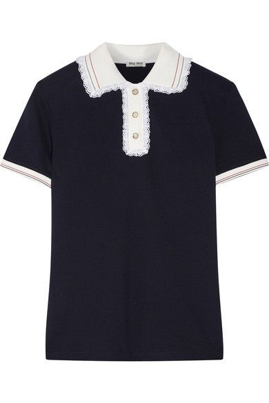 Miu Miu - Lace-trimmed Cotton-piqué Polo Shirt - Midnight blue - x large