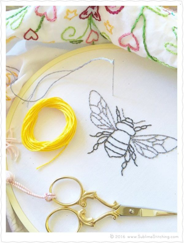 Bumble Bee hand embroidery pattern with filling suggestions ...