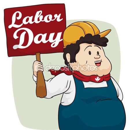Cute Chubby Worker Celebrating Labor Day