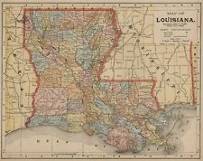 Louisiana Map: Authentic 1898; With 1890 census details included
