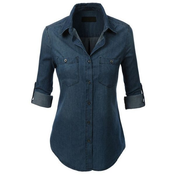 (pre-order) Dark Wash Denim Button Down Top (125 BRL) ❤ liked on Polyvore featuring tops, shirts, long sleeves, denim button up shirt, long sleeve denim shirt, blue denim shirt, summer tops and summer shirts