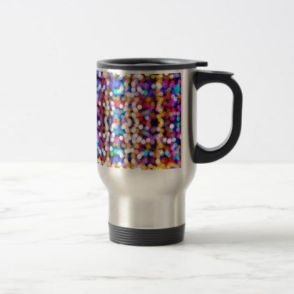 Colourful Bokeh Blurred Light Abstract Pattern Travel Mug - christmas mugs santa merry xmas