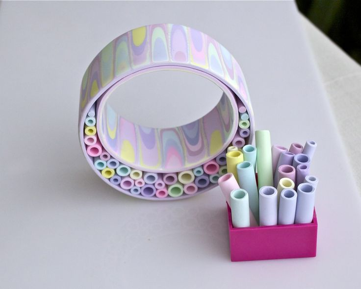 polymerclayfimo: extruded tubes bracelet *love*