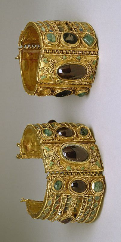 Greek gold bracelets, late 2nd century BC; Gold, garnet, amethyst, emerald, pearl, chrysoprase, glass, enamel, and modern replacements #GoldBracelets #emeraldbracelet