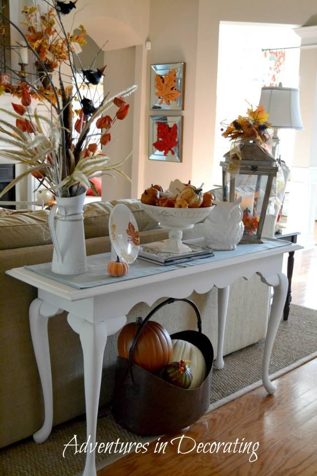 Sofa table decor fall pinterest old sofa tables and for Console table decor ideas