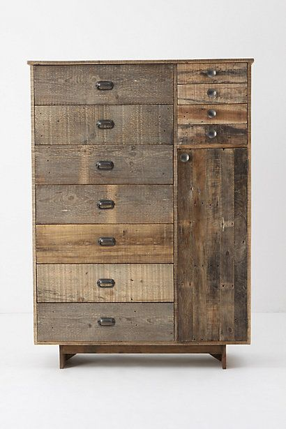 """Eiko Cabinet reclaimed pine is configured into a roomy collection of drawers and doors to hold your all of your wardrobe essentials.        Seven wide drawers, four narrow drawers, one compartment with two shelves      Reclaimed pine      68""""H, 49""""W, 22""""D   Anthropologie 1898.00"""