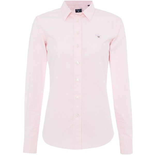 Gant Stretch Oxford Shirt (1.515 ARS) ❤ liked on Polyvore featuring tops, pink, women, stretch top, stretchy tops, shirt top, oxford shirt and stretch shirt
