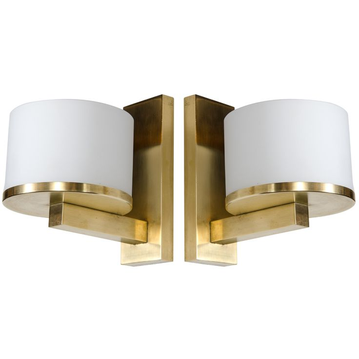 1stdibs | Pair of Exquisite Art Deco Brass & Frosted Glass Sconces Signed by Jean Perzel