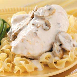 Crockpot chicken in sour cream sauce. So easy & yummy!! The chicken is fall apart tender and moist! (I double the sauce and serve over egg noodles.....family favorite!)  I also use boneless skinless breasts...