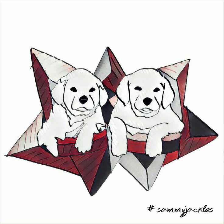 Untimely duo. #sammyjackles #doggies #adorable #dogs #dogart #art #pets #labrador #labradorart