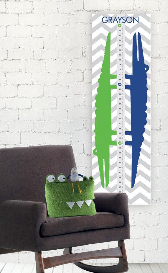 Alligator Crocodile Nursery Growth Chart Height Chart - Navy Blue Gray Chevron Green - Children Kid Baby Boy Playroom on Etsy, $35.00