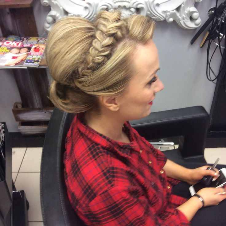 Simple updo with crown plait