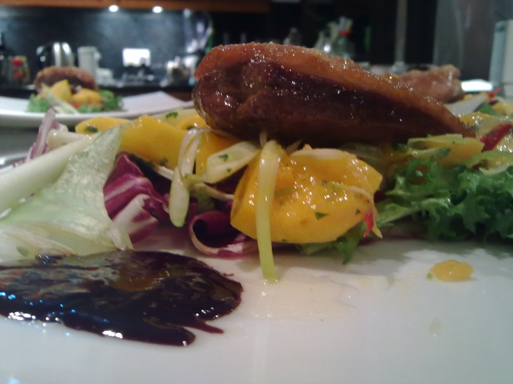My duck with Orange sugar, mango salsa and red wine reduction. Inspired by - Will Hollands Recipe (See Link)