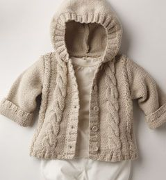 Knit cabled child cardigan hoodie sweater