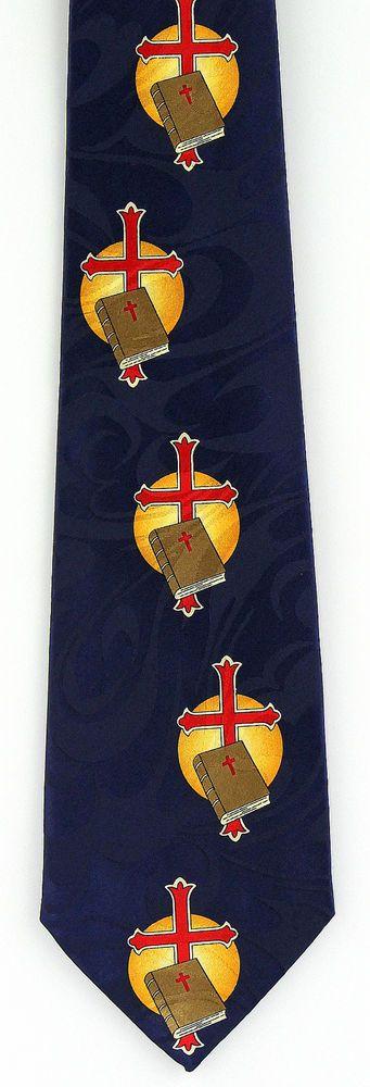 Holy Bible & Red Cross Necktie Christian Religious Jesus Gift Blue Neck Tie New #Fratello #NeckTie