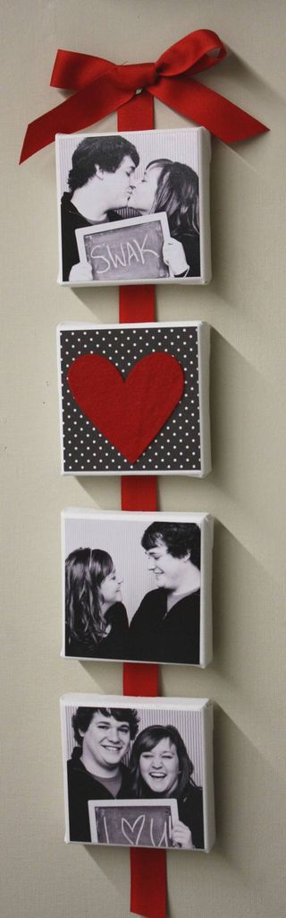 Attach pictures on canvas to ribbon, I've done the pics but love the idea of having them on the ribbon to hang