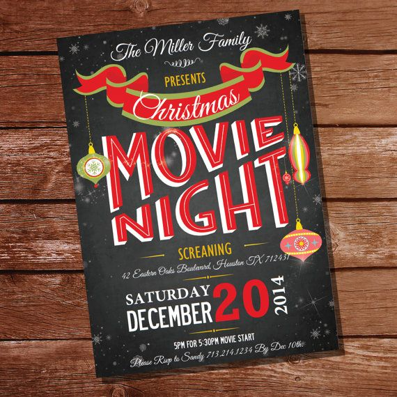 Chalkboard Christmas Movie Night Party Invitation - Christmas Party - Instant Download and Editable File - Personalize with Adobe Reader