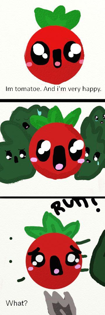 Por si no le entendieron.  Es un tomatito feliz a punto de ser comido. El no lo sabe las lechuguitas si. #Pug5AbiDrawings