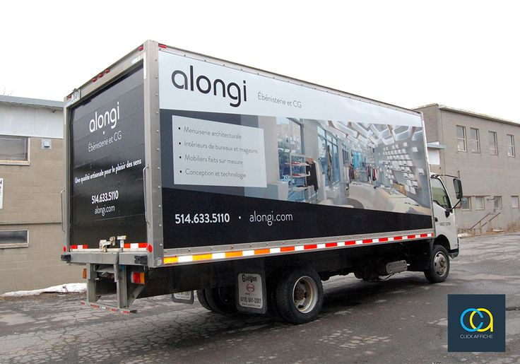 20ft Truck cube wrap and lettering designed, printed and installed for Alongi - a Montreal-based company specialized in manufacturing custom wood store furniture displays for stores and boutiques.
