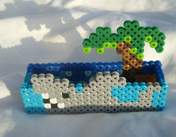 Shark and palm tree 8-bit desktop business card holder. $15.00, via Etsy.