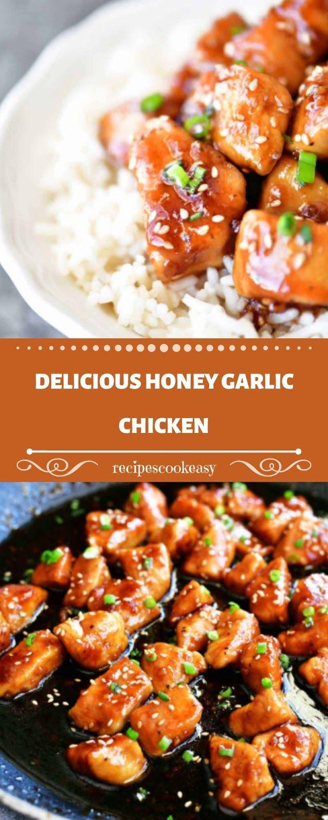 Delicious Honey Garlic Chicken Easy Honey Garlic Chicken Chicken Bites Recipes Honey Garlic Chicken