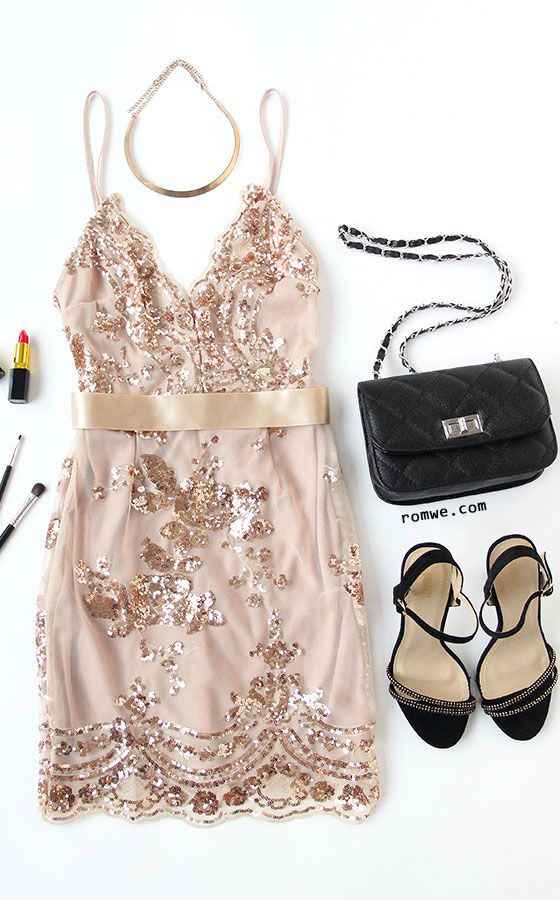 Club Sexy Dress - Gold Spaghetti Strap Open Back Sequins Bodycon Dress from rowme.com