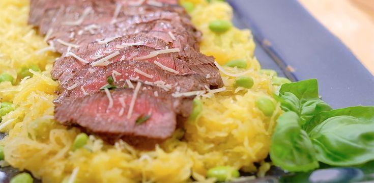 Spaghetti Squash with Top Sirloin steak recipe. This is a great 30-minute recipe.