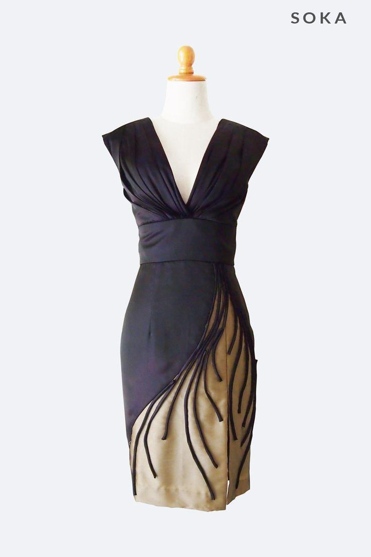 Black Deep V Cut Mini Dress