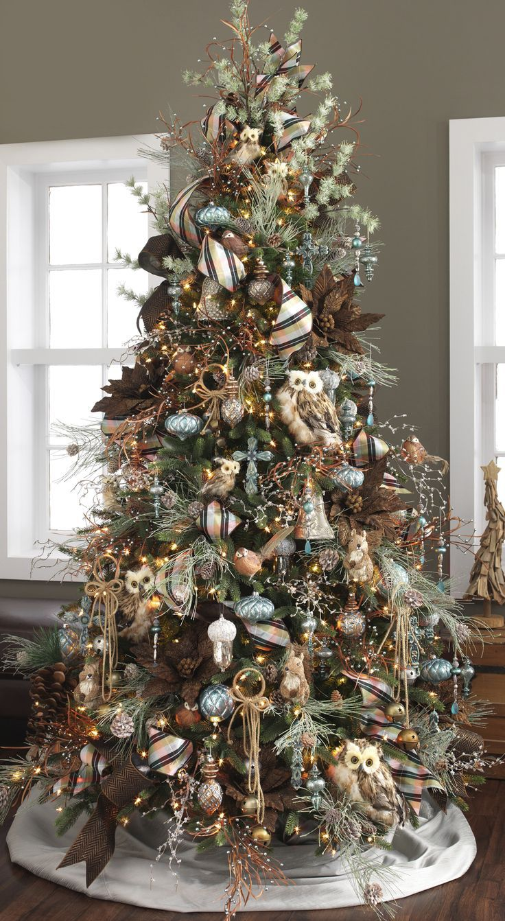 Owls, Silver and Brown look fantastic on this  Christmas Tree