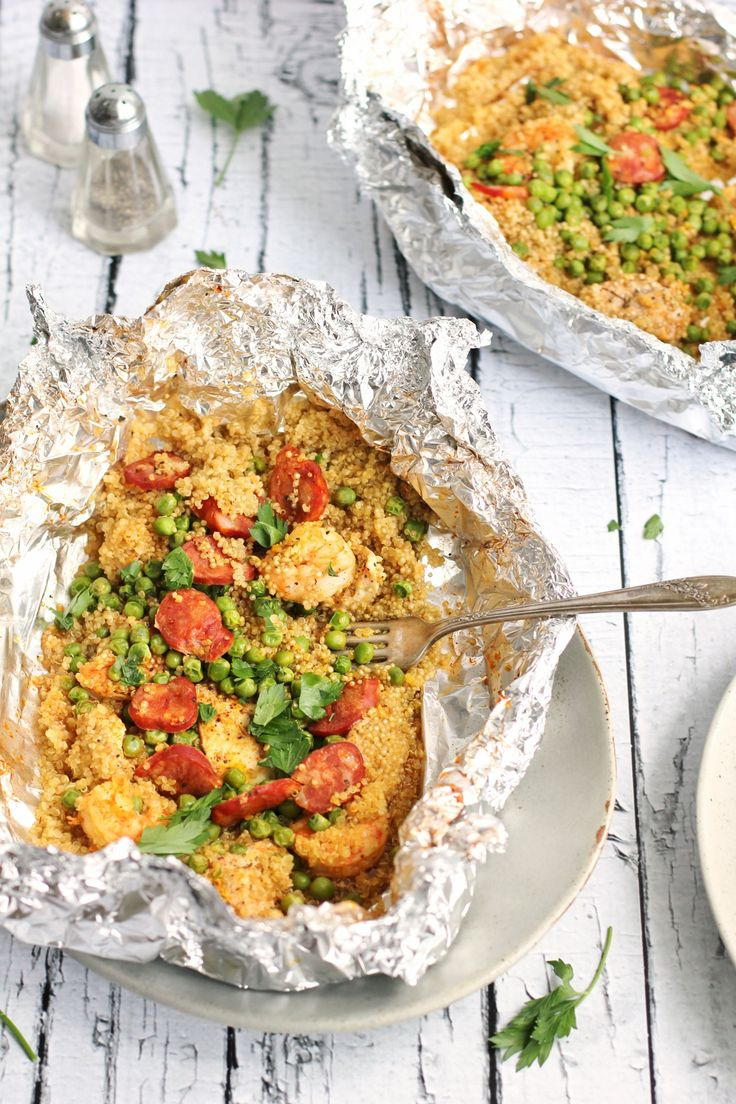 Quinoa Paella Foil Packs - Perfect for the grill!