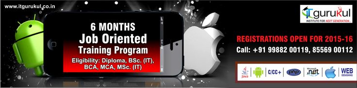 Enroll now for 6 Months Industrial Training on Mobile application development (iPhone, Android). View details @ http://bit.ly/1AQ8zPT
