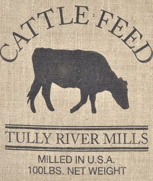 Cattle Feed Sack Reproduction...some burlap accents?