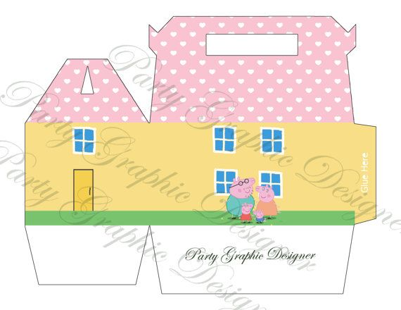 box party lunch box gable box Peppa Pig by PartyGraphicDesign, €6.00
