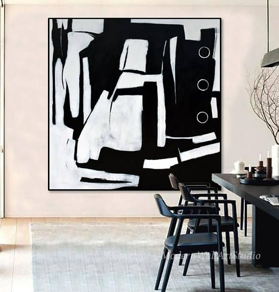 Original Extra Large 72x72 Abstract Painting Black and White Minimal Art, Minimalist Canvas Art, Acrylic Painting on Canvas. Hand painted modern art. Size: 72x72x1.5 AFTER STRETCHING. Due to the large scale of the painting, this piece can be shipped ROLLED ONLY- Medium:High