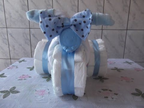 Como fazer - Bolo de fraldas em formato de triciclo