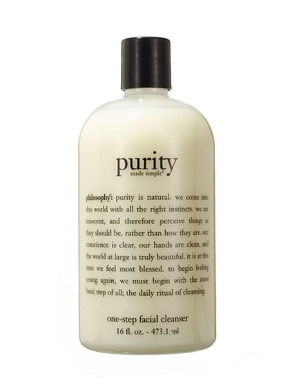Philosophy Purity Made Simple One-Step Facial Cleanser.....melts away makeup and clears pores, too. Creamy.  Thirty three dollars.